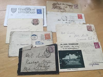 Used, old Pre Decimal Stamps on Cards/Envelopes