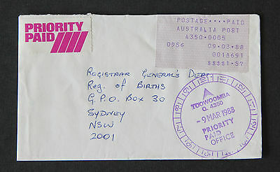 1988 Toowoomba QLD priority paid label commercial cover Pmk