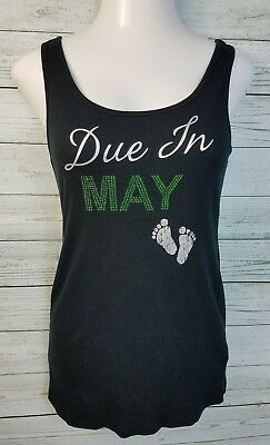 Motherhood Maternity Tank Top Due In May Bling Baby Feet Black Womens Size Large