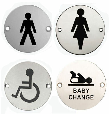 "Pack of 4 Steel WC Toilet Door Signs 3"" MALE,FEMALE, DISABLED & BABY CHANGE"