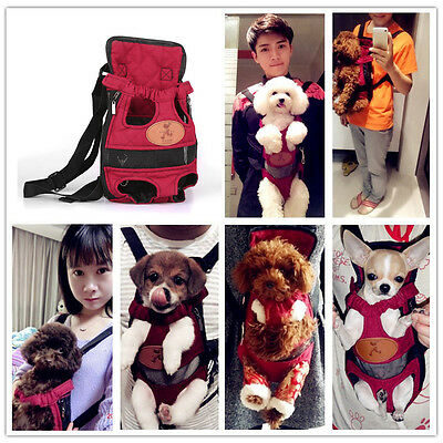 Pet Dog Puppy Backpack Carrier Travel Note Bag Front Net Double Shoulder Sling