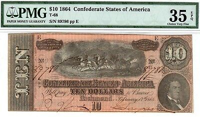 T-68 PF-42 $10 Confederate Paper Money 1864 - PMG Choice Very Fine 35 EPQ!!