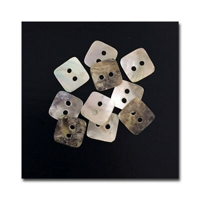 "Lot of 10 Mini-Square 10mm Mother of Pearl Buttons 3/8"" Two Hole"