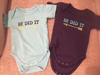 """Twin Baby Clothes -  funny boy """"He Did It"""""""