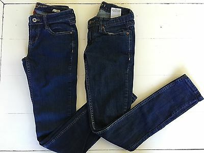 Lot 2 Pair Juniors Jeans LEVIS SUPERFLOW 524 Arizona Jeans Co SUPER SKINNY Sz 1