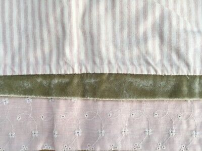 Two Curtain Valances, Pink-striped with Cotton Eyelet and Green Decorative Strip