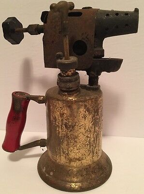 Vintage Antique Clayton & Lambert Brass Gasoline Blow Torch w/ Red Wooden Handle