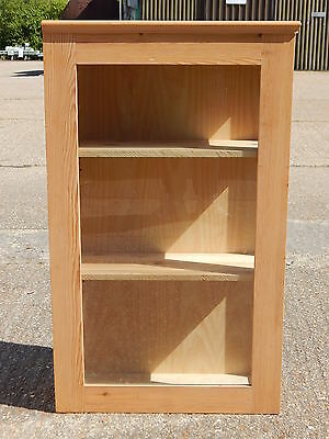 Solid pine glazed wall hung corner display cabinet with lockable door kitchen?