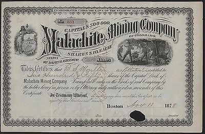 MALACHITE MINING COMPANY OF COLORADO Stock Certificate 250 Shares 1878 Morrison