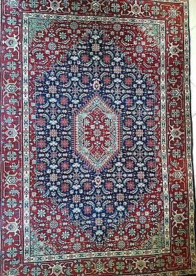 Old Hand Made Traditional Persian Rugs Oriental Wool Red Blue Carpet 200x124cm