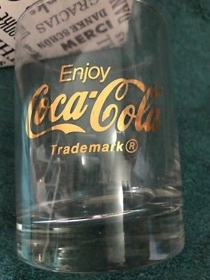Set of 4 NEW Collectible Gold Letter Coca-Cola Whiskey Low Ball Glasses FREE SH.