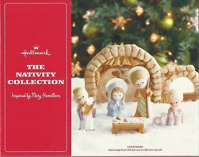 Hallmark The Nativity Collection Inspired by Mary Hamilton 6 Figurines Manger