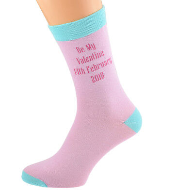 Pale Pink Personalised Socks (5-12 shoe) with Turq contrast YOUR TEXT.  X6N690