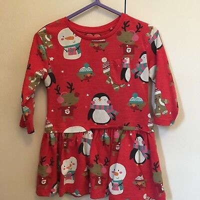Baby Girl Next 9-12 Months Jersey Skater Dress Red Christmas Print