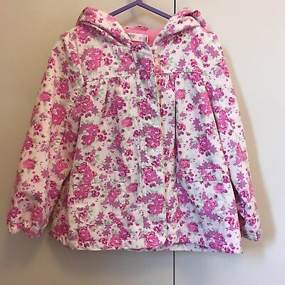 Girls M&Co Pink Ditsy Floral Hooded Jacket Fleece Lined BNWT 2-3 Years