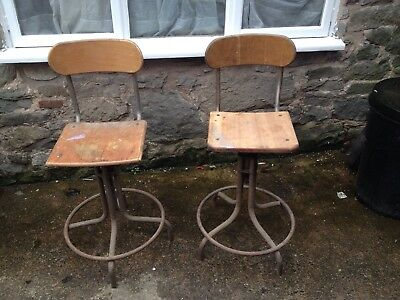 Vintage Industrial  Machinist Workshop Architects Chair Swivel Stool