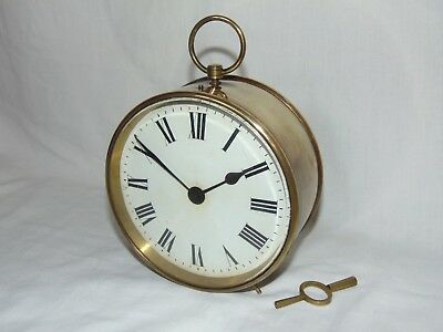 GOOD SIZE WORKING ANTIQUE c1900 FRENCH BRASS CASED MANTLE CLOCK by R&CO of PARIS