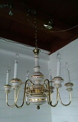 VTG Italian Chandelier Gold Painted Porcelain Ceramic Brass 6 arm Chandelier