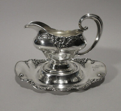 Rare Alvin Sterling Gravy Boat & Under Tray in the Floral Series Daisy Pattern