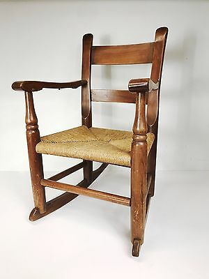 Vintage Child's Rocking Chair Rush Seat Bottom Rocker Old With Patina