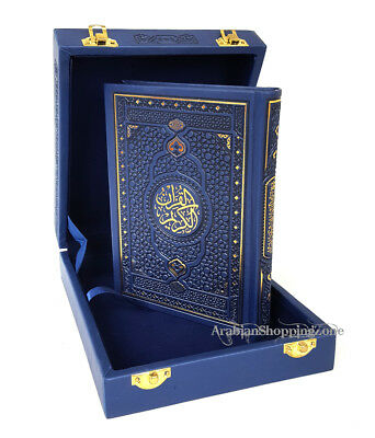 The Holy Quran Koran 20*14cm Arabic With Navy Lether Box  Islamic Gift