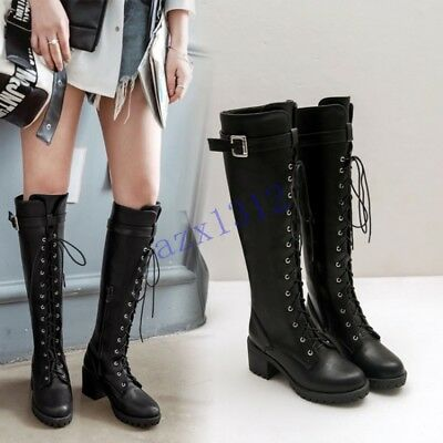 Vogue Womens Over Knee Boots Platform High Slim Heels Shiny Leather Lace Up Zip