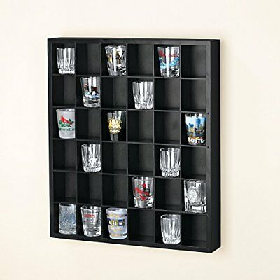 Black Shot Glass Liquor Cabinet Display Case Man Cave Shelf Wall Rack Bar Cubby