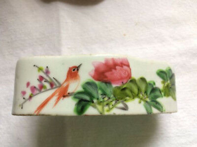 Antique Chinese Porcelain Cricket Cage Box Dish  Lid Bird Flowers Free Shipping!
