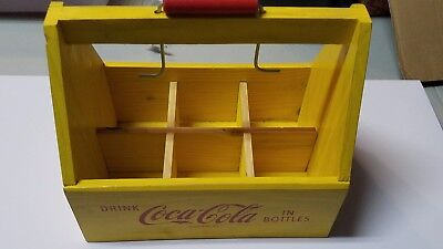 Vintage style COCA COLA SIX PACK CARRIER 1940's design WOOD metal handle