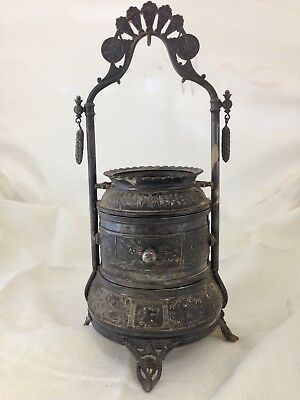 Vntg. RARE Reed & Barton Silverplate Stand-up Victorian Jewelry or Sewing Tier