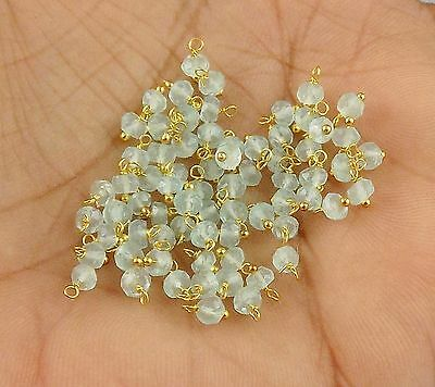 30 Pcs Natural Aqua Chalcedony Faceted Rondelle Gemstone 3mm Wrapped Link Beads