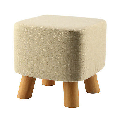 SS Modern Luxury Upholstered Footstool Pouffe Stool + Wooden Leg Pattern:Square