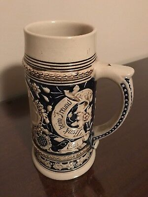 Beer Stein Glazed Stoneware Old German FRANK BEIN FREUND Mug NEW