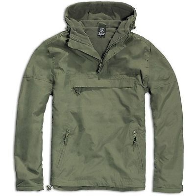 Brandit Olive Windbreaker Hooded Weather Proof Fleece Lined Anorak Jacket