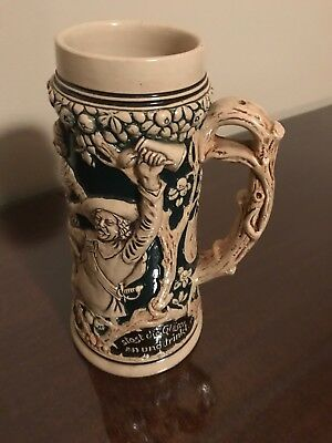 Beer Stein Glazed Stoneware Old German Aufibe Bruder aufund sinat Mug NEW