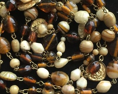 FASHION Necklace BROWN GLASS Greek Revival Coin Bead Jewelry lot y