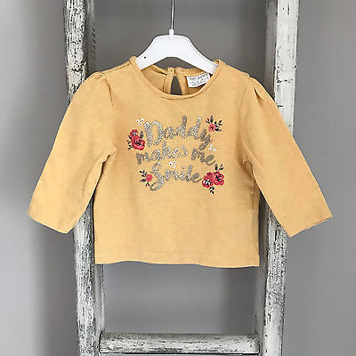 2 X Baby Girl Tops Size 0-3 Months White Yellow Floral Daddy Pink Long