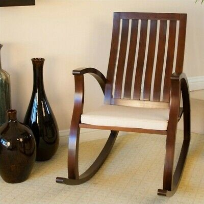 Trent Home Angela Rocking Chair With Cushion in Brown Mahogany