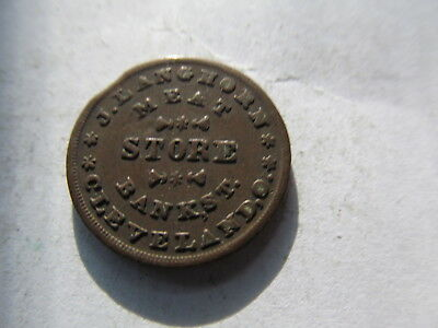 1863 Civil War Token  J. Langhorn Meat Store Bank St. Cleveland,ohio,with Eagle