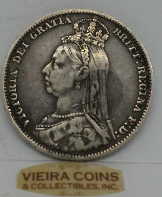 1891 Great Britain  Silver Shilling, KM#774 Victoria  - #9775