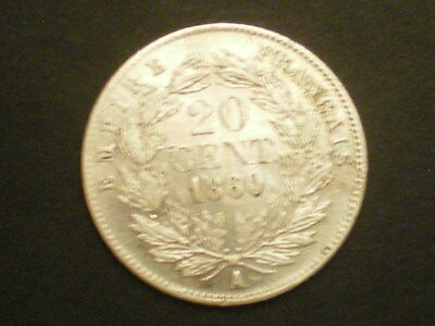 20 Centimes Napoleon Iii Argent 1860 A