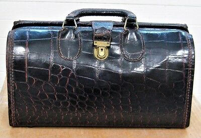 Vintage UPJOHN Doctor PHYSICIAN Bag Faux ALLIGATOR Dark Brownish-Burgundy NICE