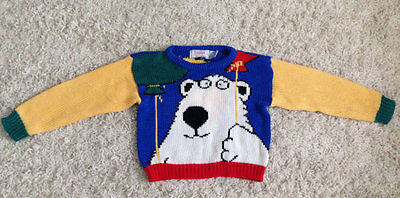 Vintage Childrens Bright Colorful Bear Balloon Sweater by Boynton Eagle Eye 1988