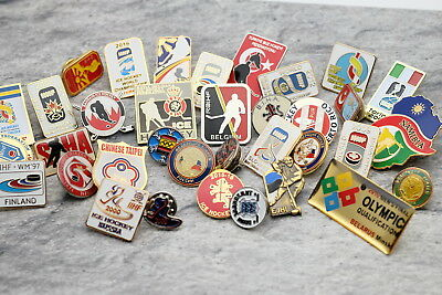 Pin Badge Ice Hockey Federation and World Championship Estonia Russia Belgium