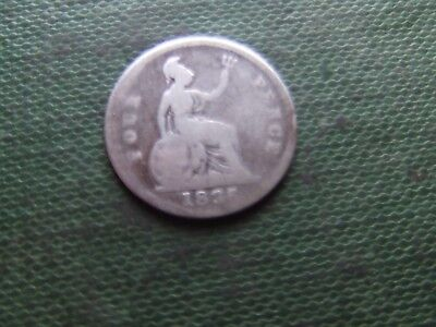 William Iv.   1836, Silver Fourpence.    Worn Condition.