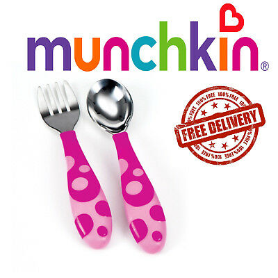 Baby Feeding Forks and Spoons Scoop Food Trening Munchkin 12m+ Pink