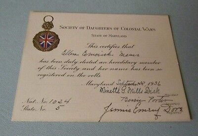 1936 Maryland Society of Daughters of Colonial Wars Membership Certificate
