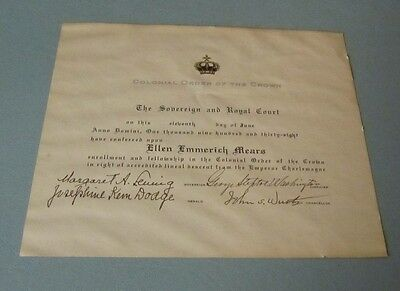 1938 Colonial Order of the Crown Membership Certificate Emperor Charlemagne
