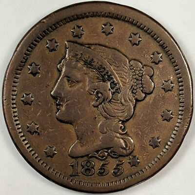 1855 BRAIDED HAIR LIBERTY HEAD LARGE CENT (SLANTED 5s WITH KNOB ON EAR)