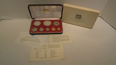 1975 Papua New Guinea 8 Coin Proof Set PS1 Sterling Silver Franklin Mint